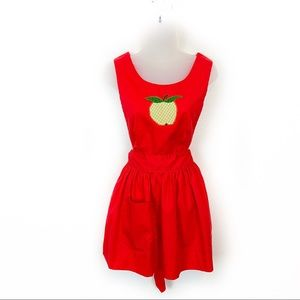 Vintage Red With Apple Crosd Back Apron Size 2
